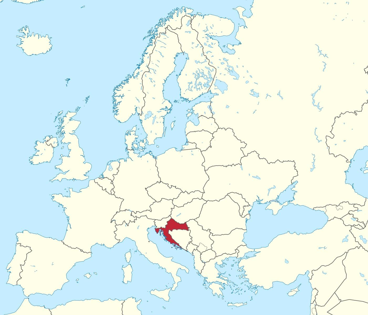 kart kroatia Kroatia kart europa   Kroatia i kart over europa (Sør Europa   Europa)