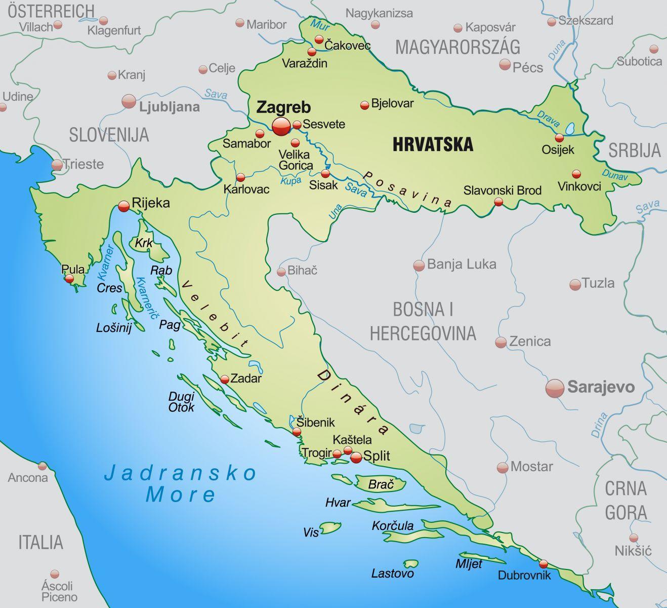 kroatia kart Nord kroatia kart   Nordlige kroatia kart (Sør Europa   Europa)